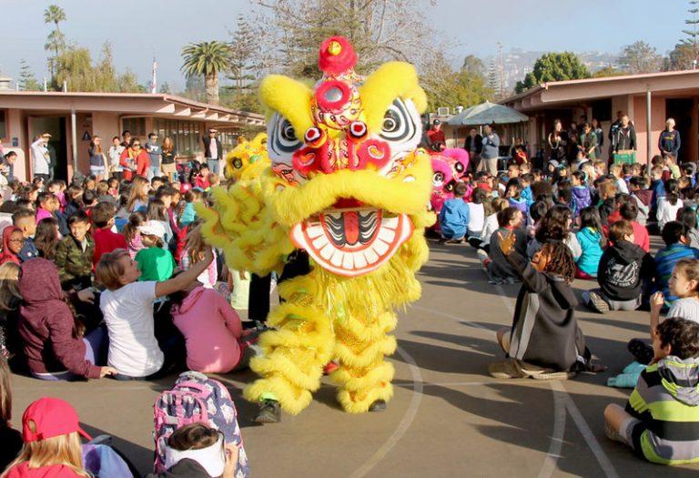 Yellow Lion Costume at School Performance